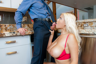 Sexy latina Bridgette B bends over the kitchen counter from Naughty America