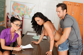 Jessica Jaymes, Johnny Castle & Tiffany Brookes in My First Sex Teacher - Naughty America - Sex Position #4