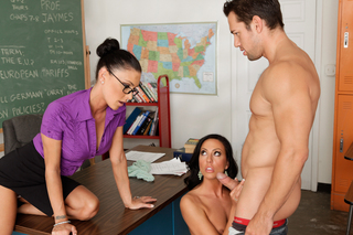 Sexy teacher Jessica Jaymes is seduced by her two students from Naughty America