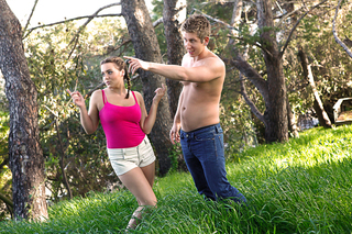 Natasha Nice and Danny Wylde are out on a hike then porn happens from Naughty America