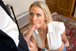 Madison Foxx slurps on a long cock from Naughty America